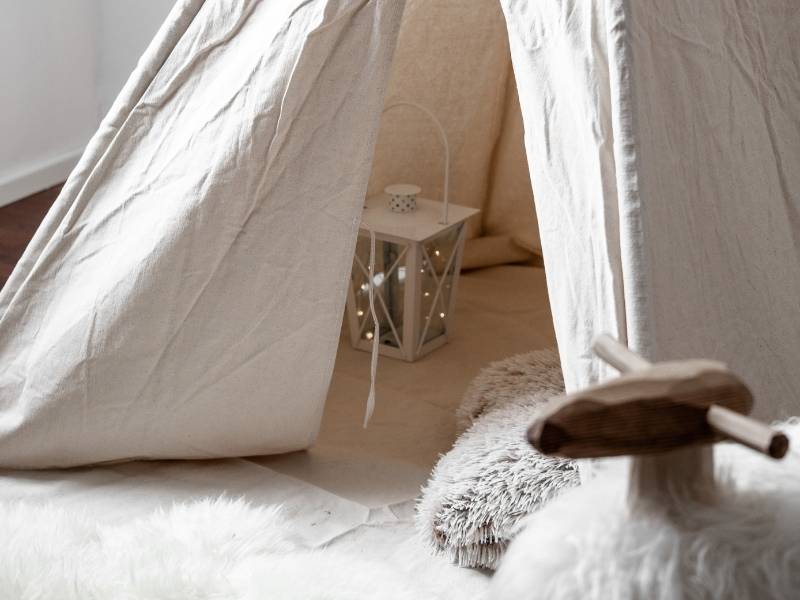 Ways to Bring Inspiration to the Kid Spaces in Your Home - muslin tent in kids space.